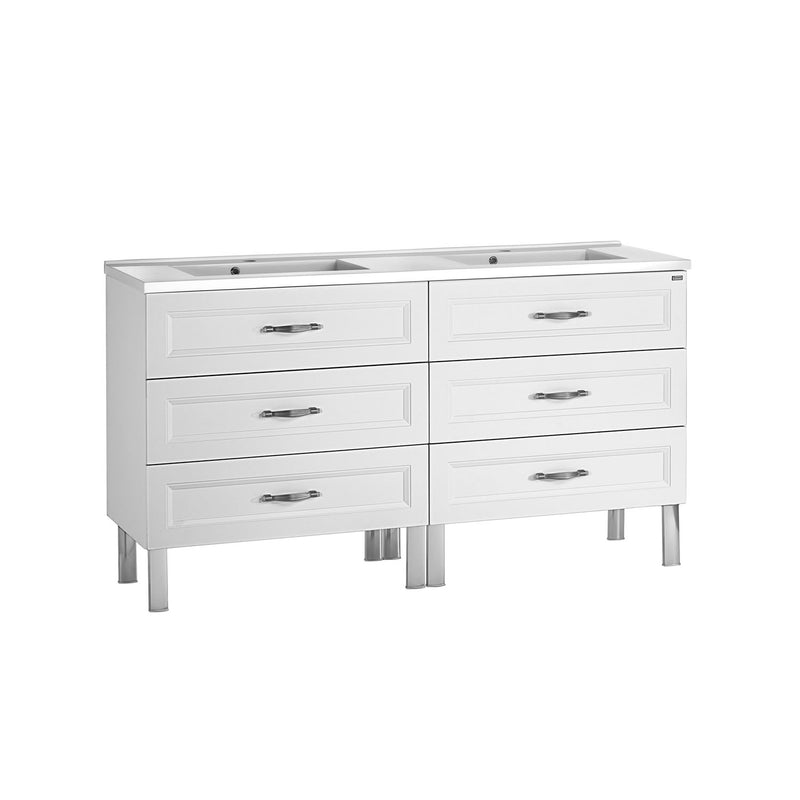 "48"" Double Vanity, Floor Mount, 6 Drawers with Soft Close, White, Serie Class by VALENZUELA"