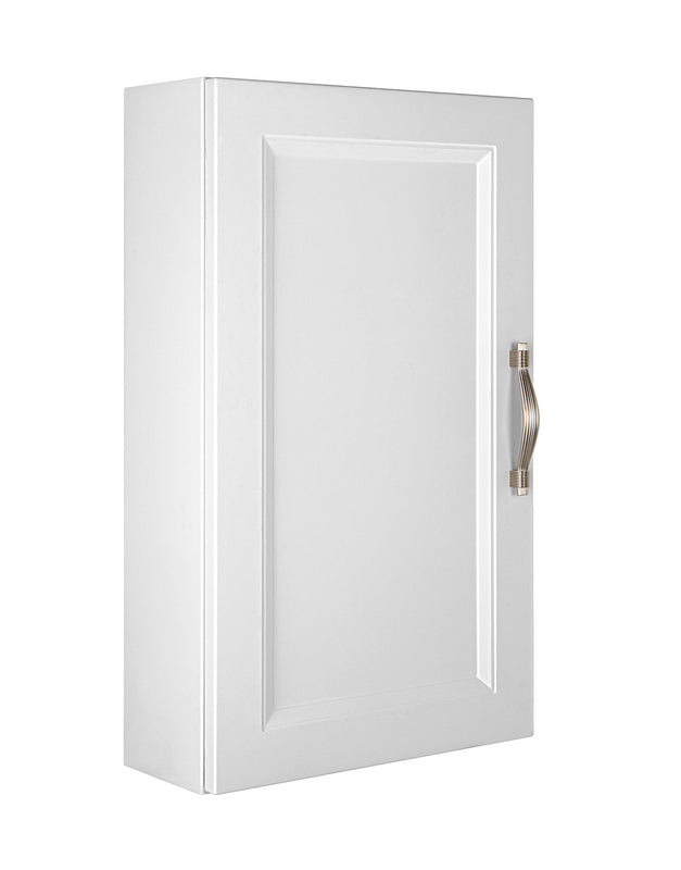 "16"" Small Side Cabinet, Wall Mount, 1 Door with Handle Soft Close and Reversible Opening, White, Serie Class by VALENZUELA"