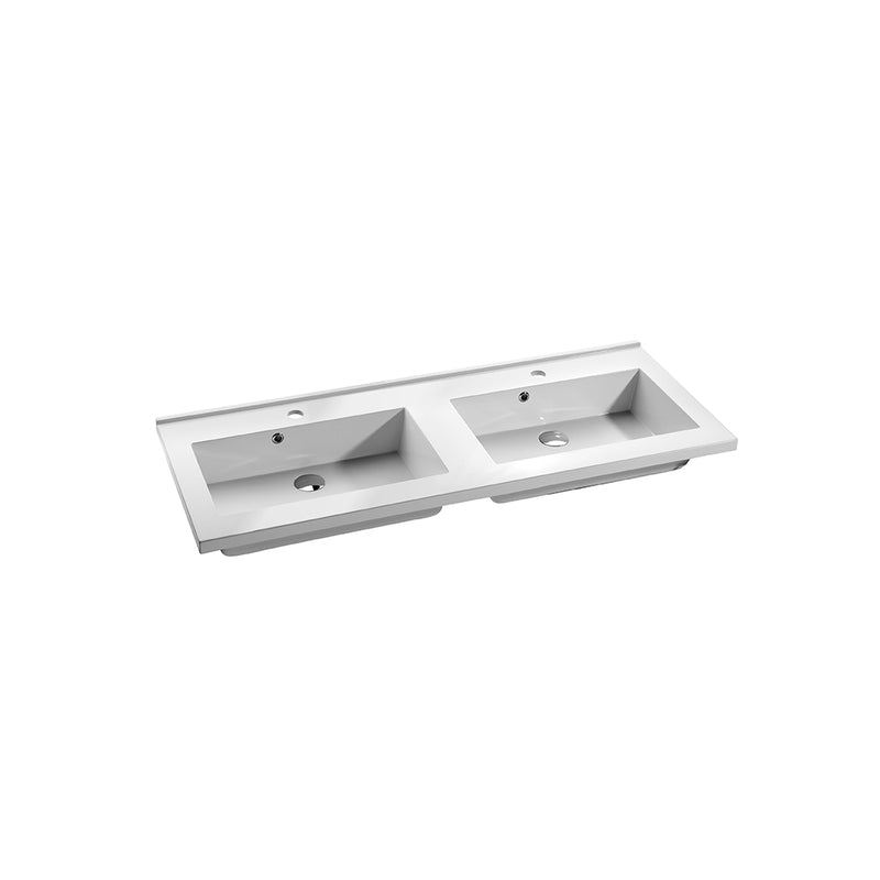 "48"" Double Vanity, Floor Mount, 6 Drawers with Soft Close, Grey, Serie Dune by VALENZUELA"