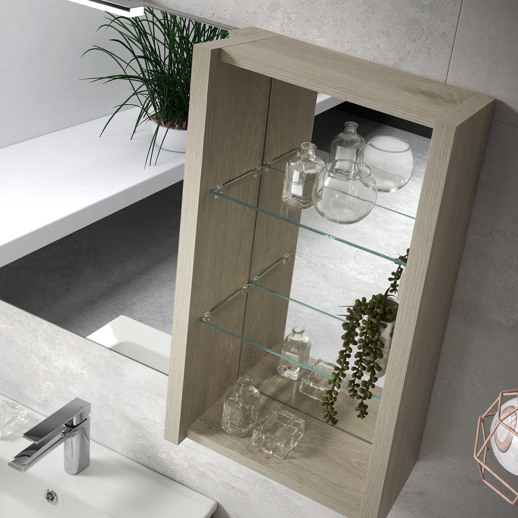 16 Quot Open Side Cabinet With Shelves And Mirror Wall Mount