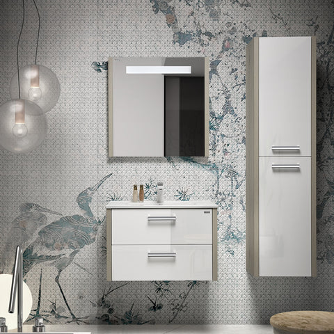 "16"" Tall Side Cabinet, Wall Mount, 2 Doors whit HandleSoft Close and Reversible Opening, Sand - White, Serie Nova by VALENZUELA"