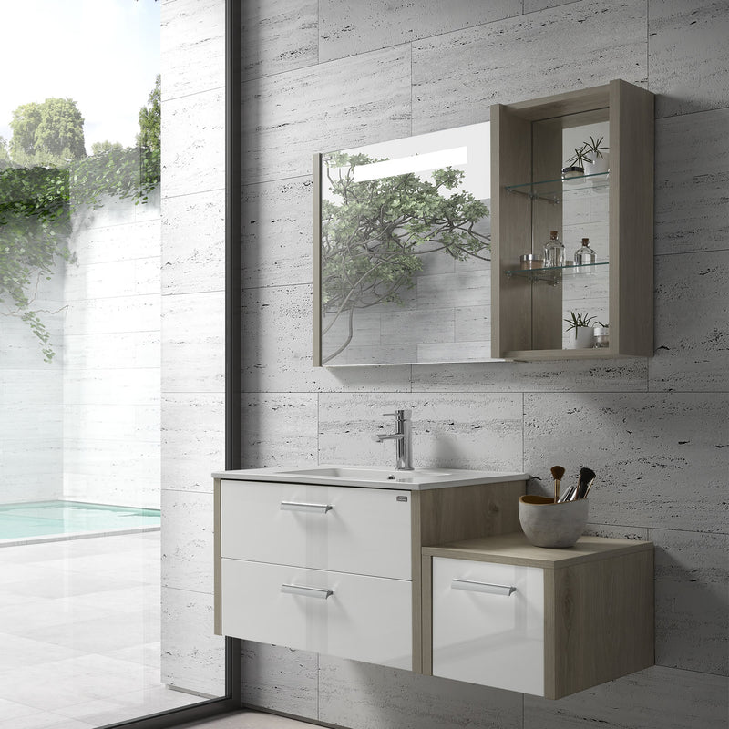 "24"" Single Vanity, Wall Mount, 2 Drawers with Soft Close, Sand - White, Serie Nova by VALENZUELA"