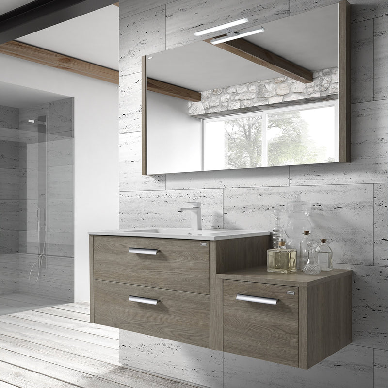 "40"" Single Vanity, Wall Mount, 2 Drawers with Soft Close, Moon, Serie Nova by VALENZUELA"