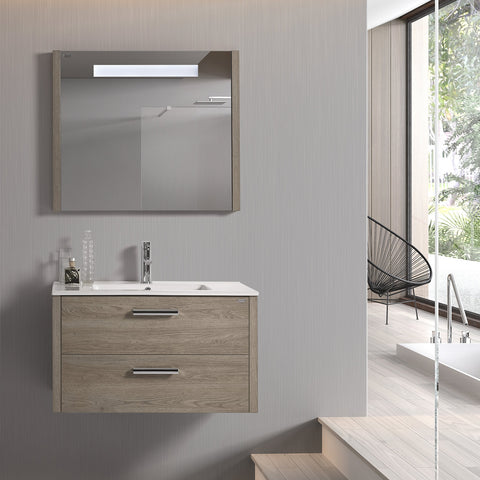 "28"" LED Backlit Bathroom Vanity Mirror, Wall Mount, Moon, Serie Nova by VALENZUELA"