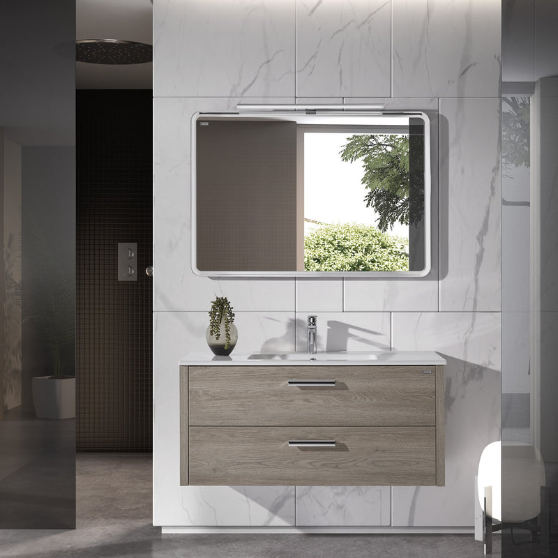 "48"" Single Vanity, Wall Mount, 2 Drawers with Soft Close, Moon, Serie Nova by VALENZUELA"