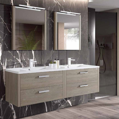 "56"" Double Vanity, Wall Mount, 4 Drawers with Soft Close, Moon, Serie Nova by VALENZUELA"