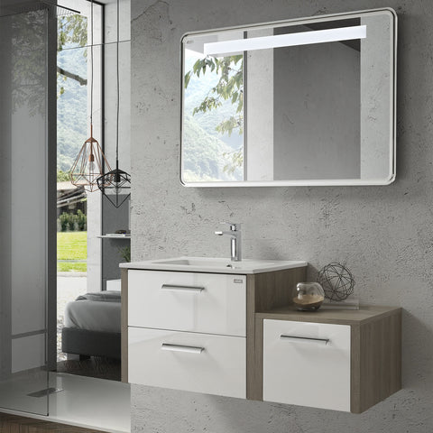 "40"" Single Vanity, Wall Mount, 2 Drawers with Soft Close, Moon - White, Serie Nova by VALENZUELA"