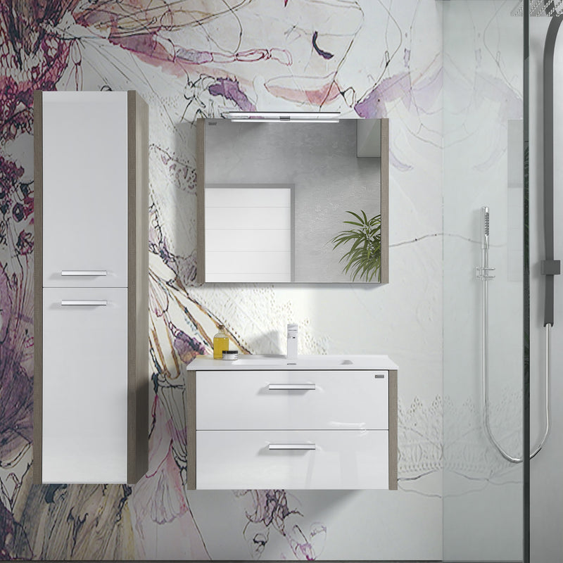 "28"" Single Vanity, Wall Mount, 2 Drawers with Soft Close, Moon - White, Serie Nova by VALENZUELA"