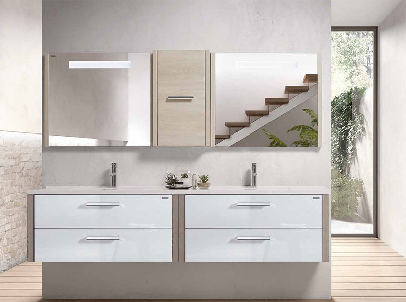 "48"" Double Vanity, Wall Mount, 4 Drawers with Soft Close, Moon - White, Serie Nova by VALENZUELA"