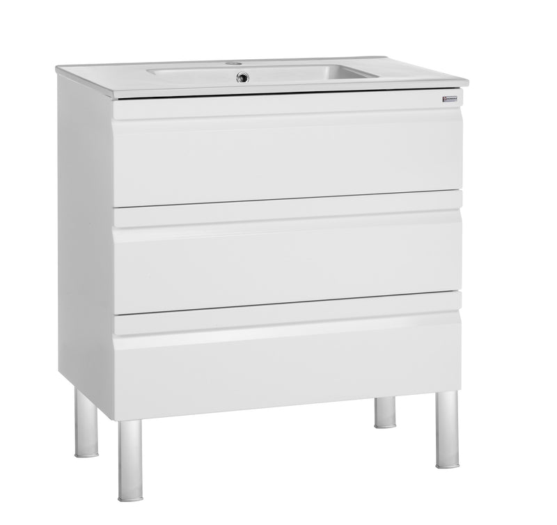"24"" Single Vanity, Floor Mount, 3 Drawers with Soft Close, White Glossy, Serie Solco by VALENZUELA"
