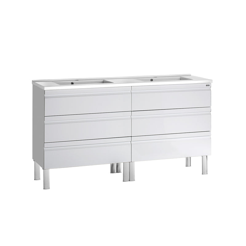 "56"" Double Vanity, Floor Mount, 6 Drawers with Soft Close, White, Serie Solco by VALENZUELA"
