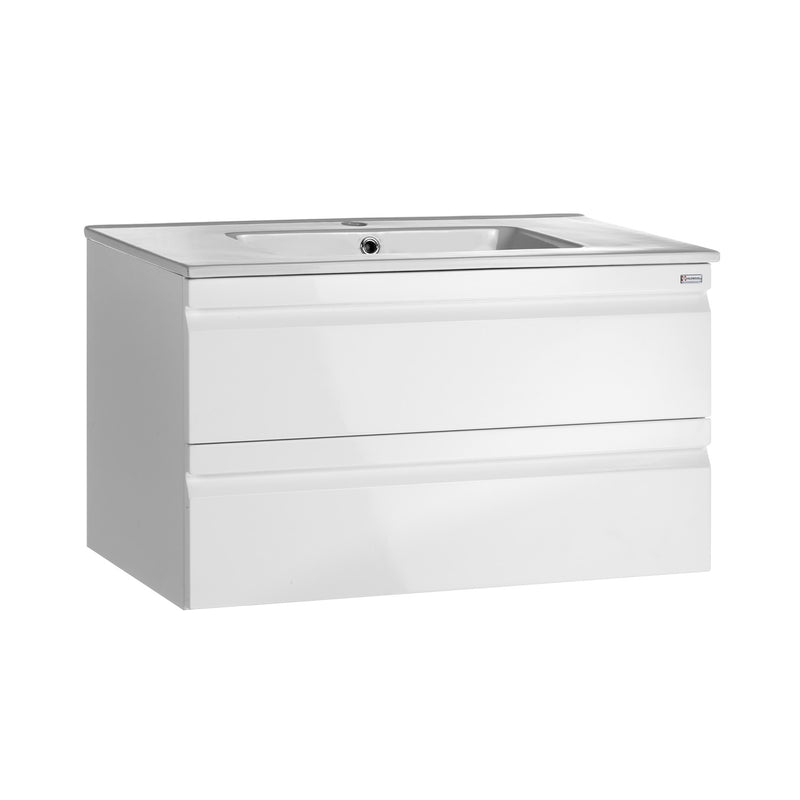 "28"" Single Vanity, Wall Mount, 2 Drawers with Soft Close, White Glossy, Serie Solco by VALENZUELA"