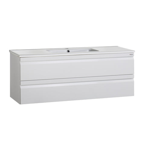 "48"" Single Vanity, Wall Mount, 2 Drawers with Soft Close, White Glossy, Serie Solco by VALENZUELA"