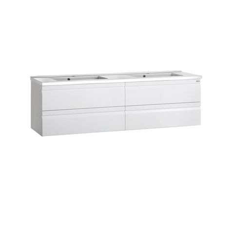 "56"" Double Vanity, Wall Mount, 4 Drawers with Soft Close, White, Serie Solco by VALENZUELA"