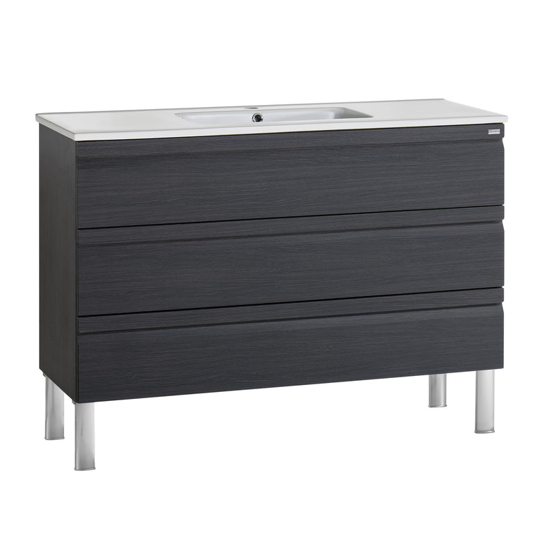 "48"" Single Vanity, Floor Mount, 3 Drawers with Soft Close, Grey, Serie Solco by VALENZUELA"