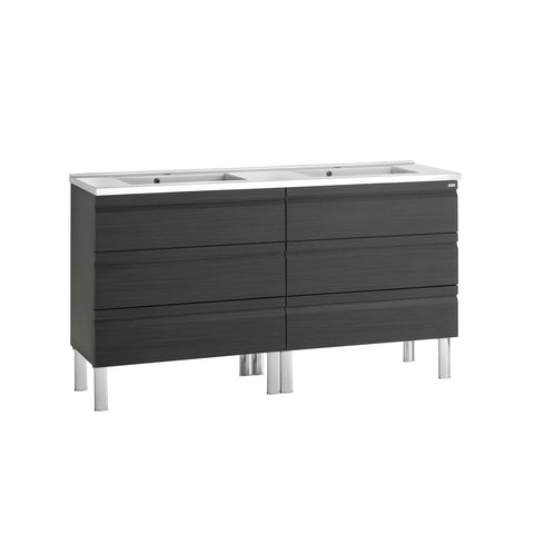 "64"" Double Vanity, Floor Mount, 6 Drawers with Soft Close, Grey, Serie Solco by VALENZUELA"