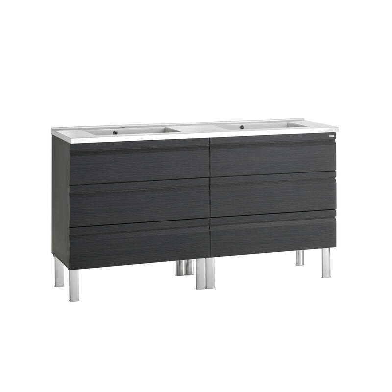 "56"" Double Vanity, Floor Mount, 6 Drawers with Soft Close, Grey, Serie Solco by VALENZUELA"