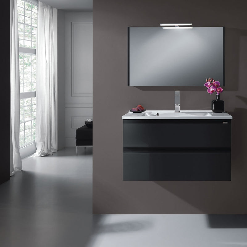 "24"" Single Vanity, Wall Mount, 2 Drawers with Soft Close, Grey, Serie Solco by VALENZUELA"