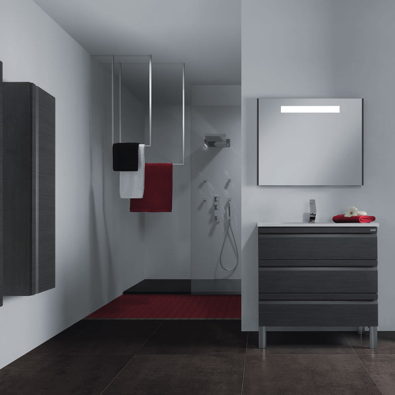 "28"" Single Vanity, Floor Mount, 3 Drawers with Soft Close, Grey, Serie Solco by VALENZUELA"