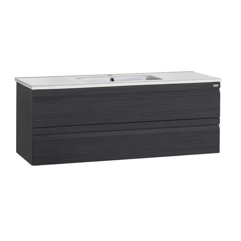 "48"" Single Vanity, Wall Mount, 2 Drawers with Soft Close, Grey, Serie Solco by VALENZUELA"
