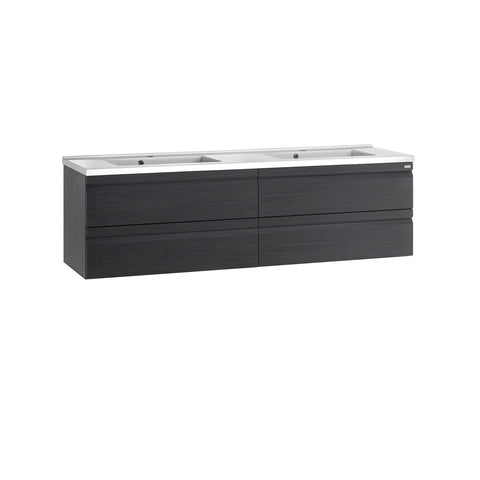 "64"" Double Vanity, Wall Mount, 4 Drawers with Soft Close, Grey, Serie Solco by VALENZUELA"