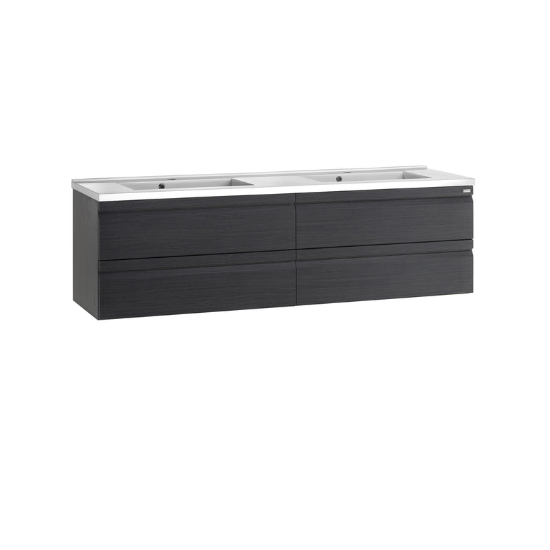 "80"" Double Vanity, Wall Mount, 4 Drawers with Soft Close, Grey, Serie Solco by VALENZUELA"