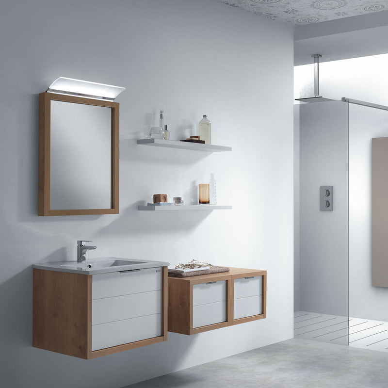 "24"" Single Vanity, Wall Mount, Drawer with Soft Close, Oak - White, Serie Tino by VALENZUELA"