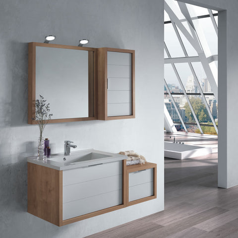 "28"" Single Vanity, Wall Mount, Drawer with Soft Close, Oak - White, Serie Tino by VALENZUELA"