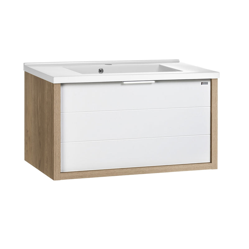 "32"" Single Vanity, Wall Mount, Drawer with Soft Close, Oak - White, Serie Tino by VALENZUELA"