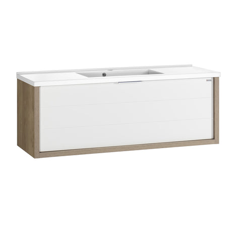 "48"" Single Vanity, Wall Mount, Drawer with Soft Close, Oak - White, Serie Tino by VALENZUELA"