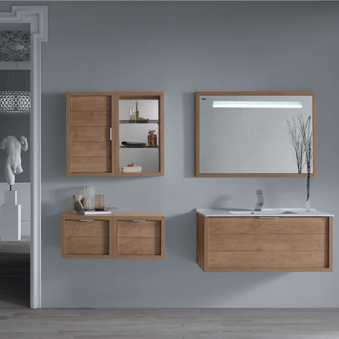 "28"" Single Vanity, Wall Mount, Drawer with Soft Close, Oak, Serie Tino by VALENZUELA"