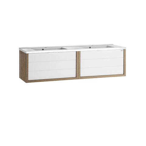 "56"" Double Vanity, Wall Mount, 2 Drawers with Soft Close, Oak - White, Serie Tino by VALENZUELA"