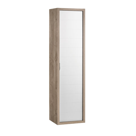 "16"" Tall Side Cabinet, Wall Mount, 1 Door with Handle Soft Close and Reversible Opening, Oak - White, Serie Tino by VALENZUELA"