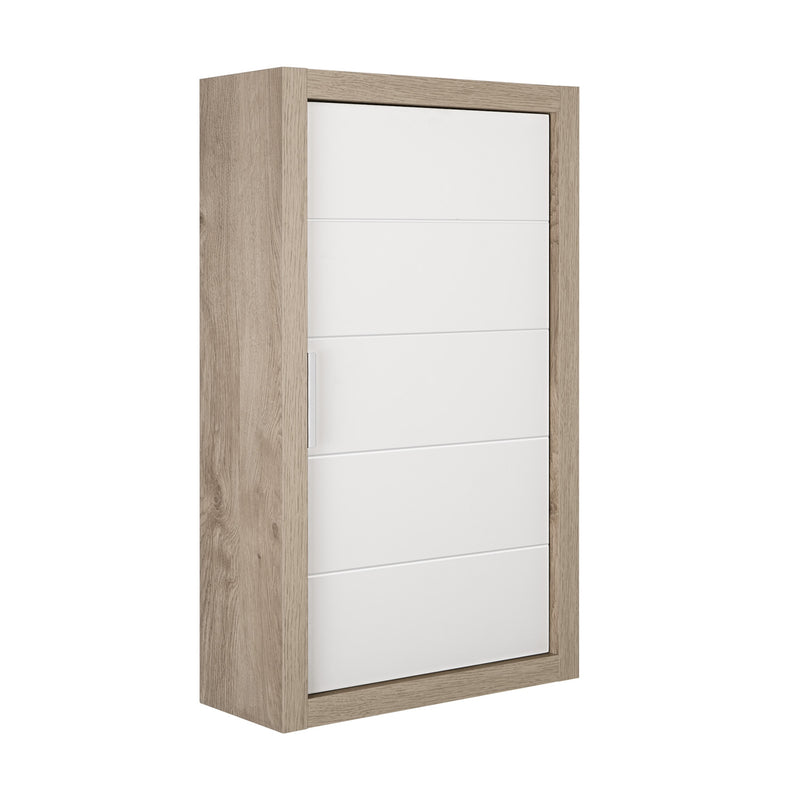 "16"" Small Side Cabinet, Wall Mount, 1 Door with Handle Soft Close and Reversible Opening, Oak - White, Serie Tino by VALENZUELA"