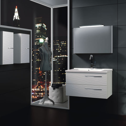 "24"" Single Vanity, Wall Mount, 2 Drawers with Soft Close, White Glossy, Serie Dune by VALENZUELA"