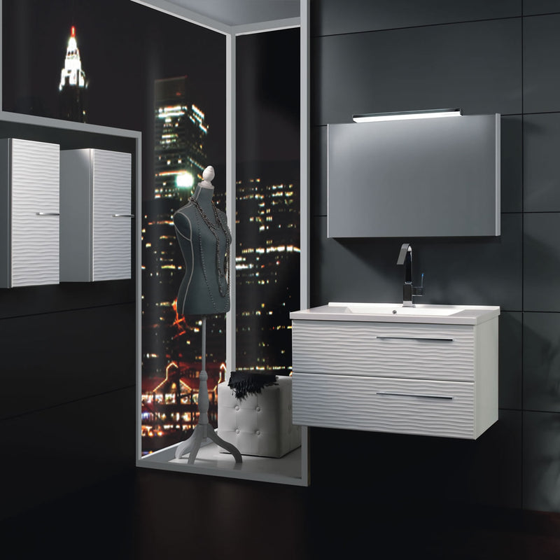 "28"" Single Vanity, Wall Mount, 2 Drawers with Soft Close, White Glossy, Serie Dune by VALENZUELA"