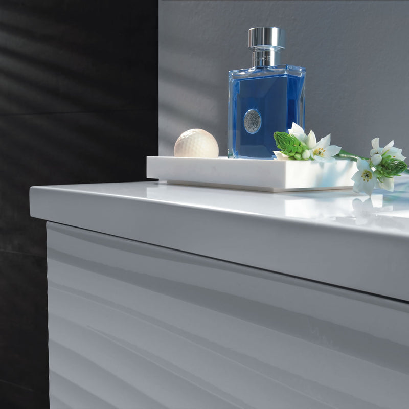 "32"" Single Vanity, Floor Mount, 3 Drawers with Soft Close, White Glossy, Serie Dune by VALENZUELA"