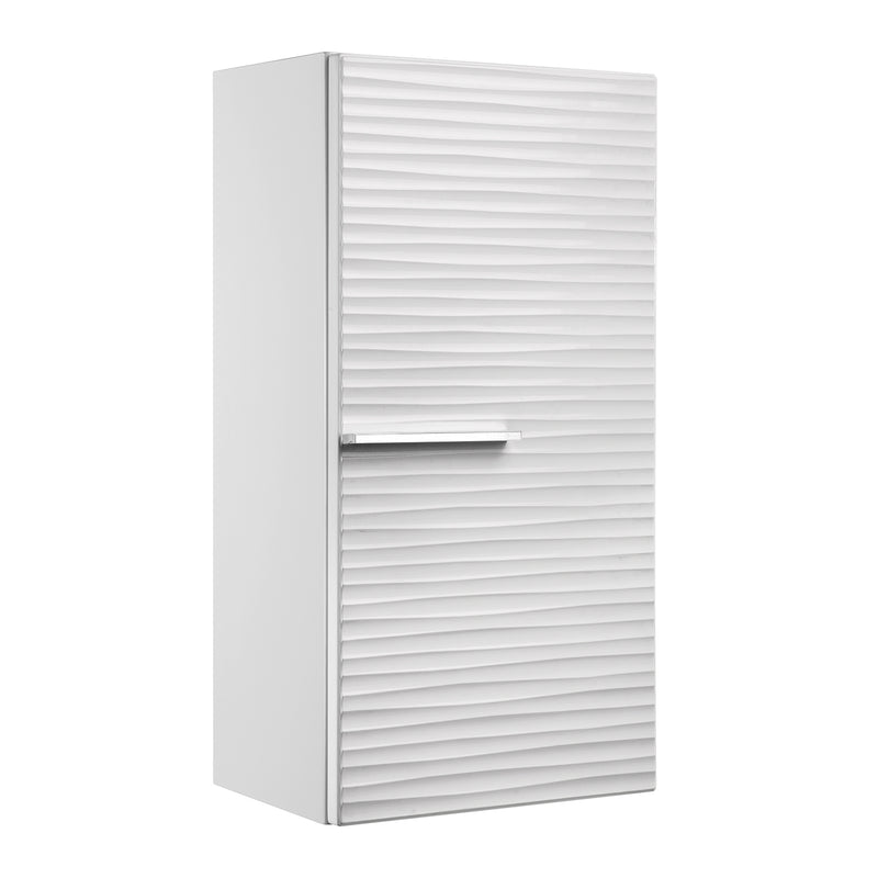 "16"" Small Side Cabinet, Wall Mount, 1 Door whit Handle and Soft Close and Left Opening, White, Serie Dune by VALENZUELA"