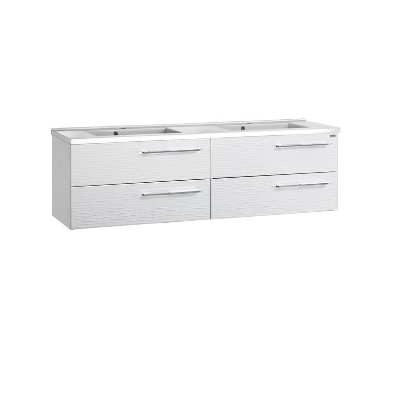 "64"" Double Vanity, Wall Mount, 4 Drawers with Soft Close, White, Serie Dune by VALENZUELA"