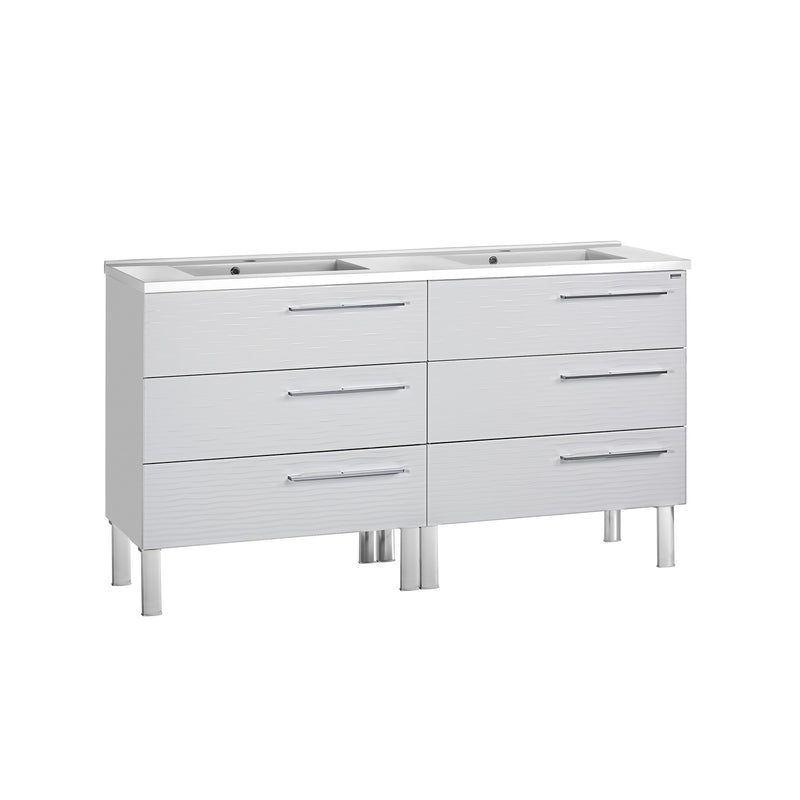 "56"" Double Vanity, Floor Mount, 6 Drawers with Soft Close, White, Serie Dune by VALENZUELA"