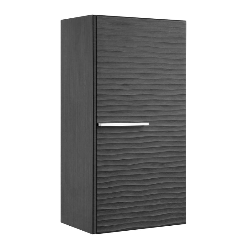 "16"" Small Side Cabinet, Wall Mount, 1 Door whit Handle and Soft Close and Right Opening, Grey, Serie Dune by VALENZUELA"