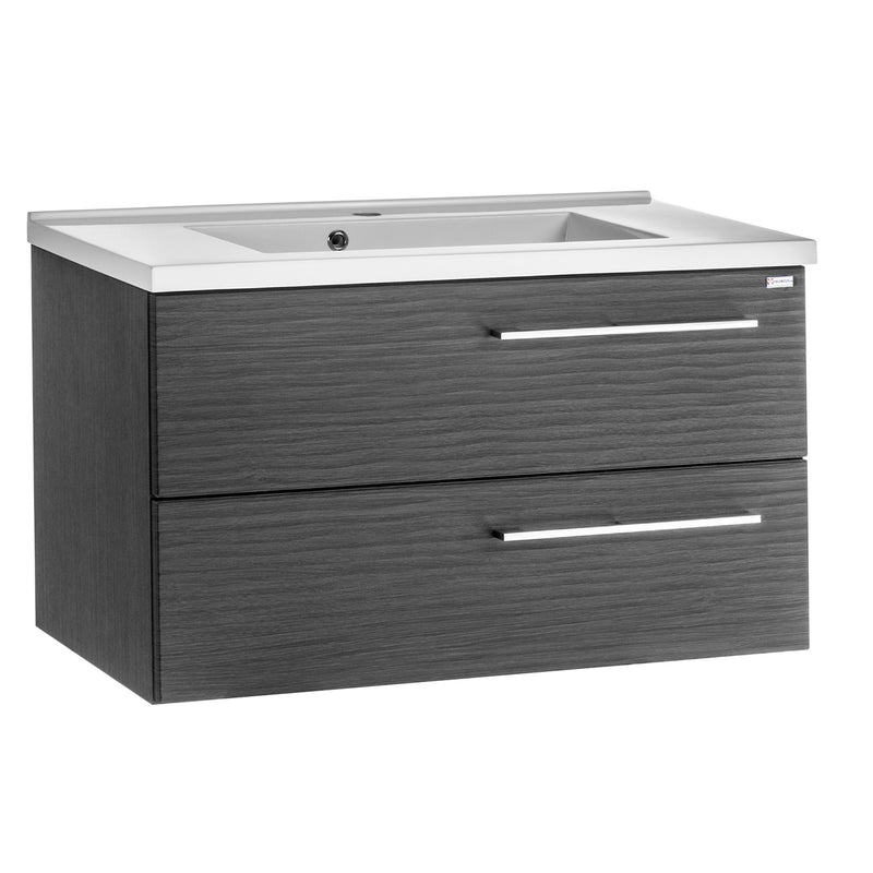 "24"" Single Vanity, Wall Mount, 2 Drawers with Soft Close, Grey, Serie Dune by VALENZUELA"
