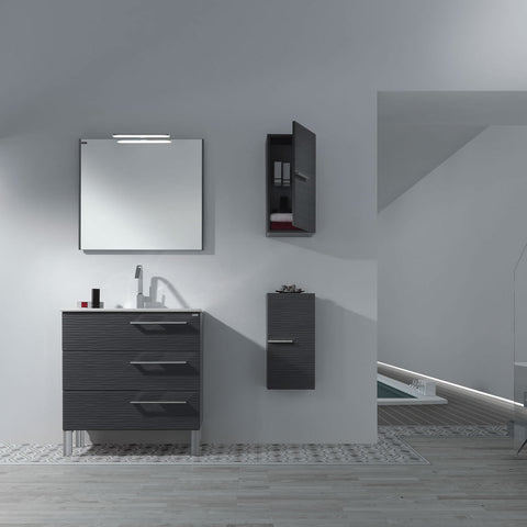 "24"" Single Vanity, Floor Mount, 3 Drawers with Soft Close, Grey, Serie Dune by VALENZUELA"