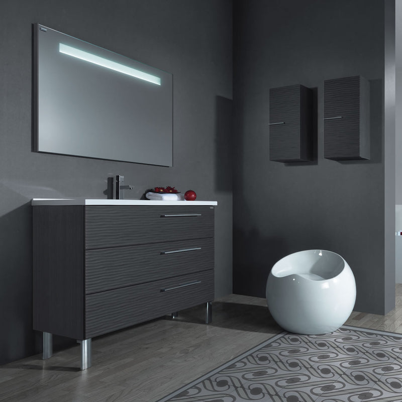 "48"" Single Vanity, Floor Mount, 3 Drawers with Soft Close, Grey, Serie Dune by VALENZUELA"