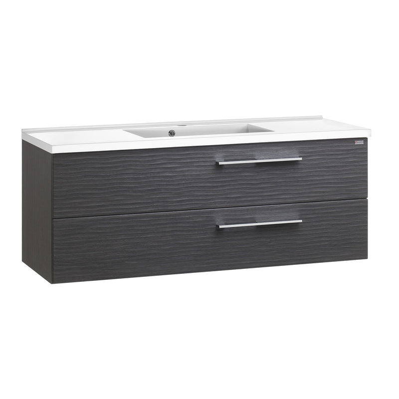 "48"" Single Vanity, Wall Mount, 2 Drawers with Soft Close, Grey, Serie Dune by VALENZUELA"
