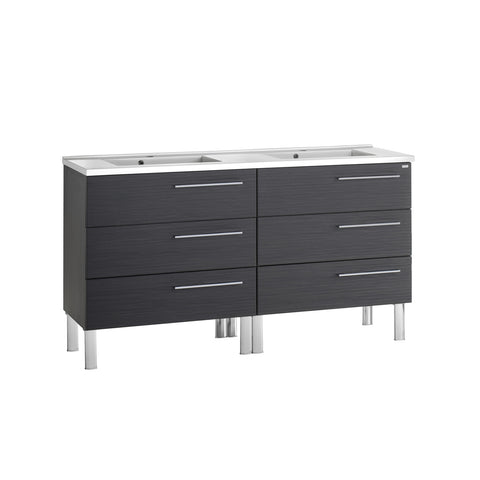 "64"" Double Vanity, Floor Mount, 6 Drawers with Soft Close, Grey, Serie Dune by VALENZUELA"