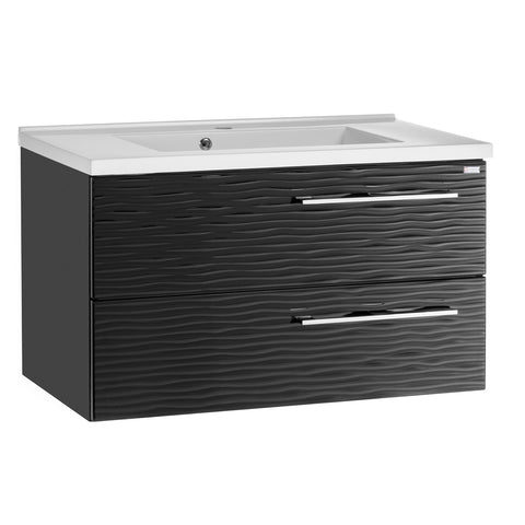 "32"" Single Vanity, Wall Mount, 2 Drawers with Soft Close, Black Glossy, Serie Dune by VALENZUELA"
