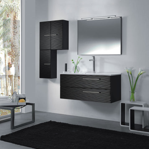 "48"" Single Vanity, Wall Mount, 2 Drawers with Soft Close, Black Glossy, Serie Dune by VALENZUELA"