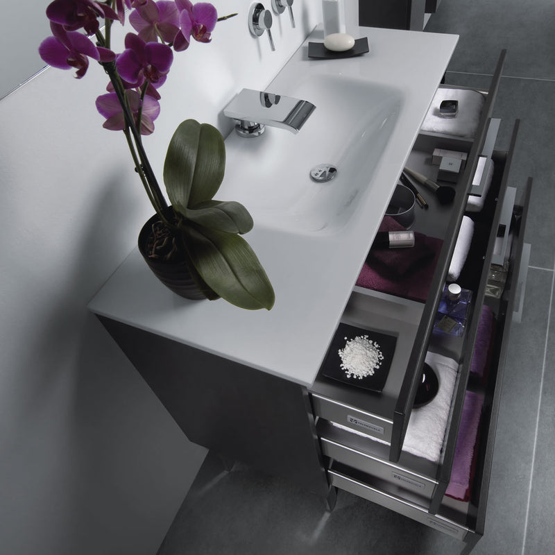 "32"" Single Vanity, Floor Mount, 3 Drawers with Soft Close, Black Glossy, Serie Dune by VALENZUELA"