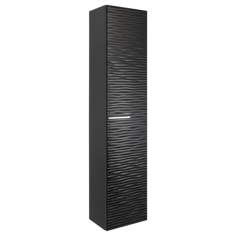 VALENZUELA Dune Tall Bathroom Side Cabinet, Wall Mount, 1 Door whit Handle and Soft Close and Reversible Opening, 16 Inches, Black Finish (VUN2130010)